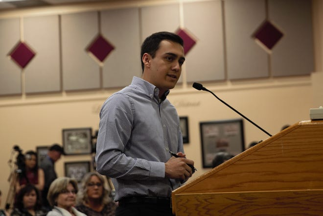 Centennial High School Student Body President Cameron Castillo confronts Las Cruces Public Schools Superintendent Greg Ewing at the March 19, 2019 school board meeting.