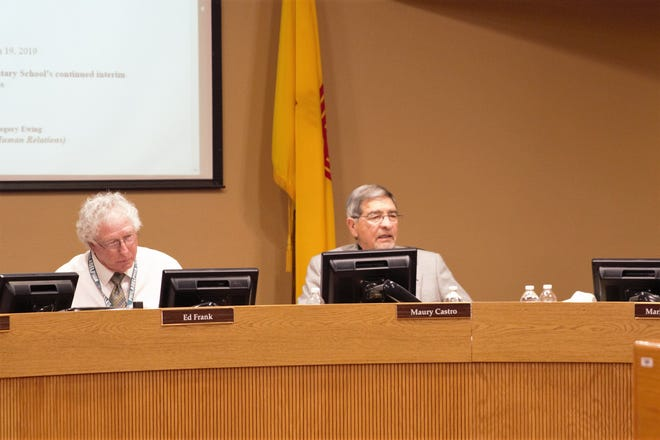 From left, Las Cruces Public Schools Board of Education President Ed Frank and the board's secretary, Maury Castro, both of whom hold seats up for election on Nov. 5, 2019. Frank is running for re-election, while Castro is not.