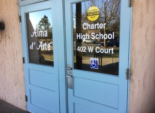 Entrance to the Alma d'Arte charter high school on Monday, March 18, 2019.