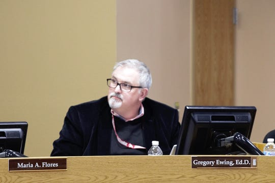 Las Cruces Public Schools Superintendent Greg Ewing at a school board meeting on March 19, 2019.
