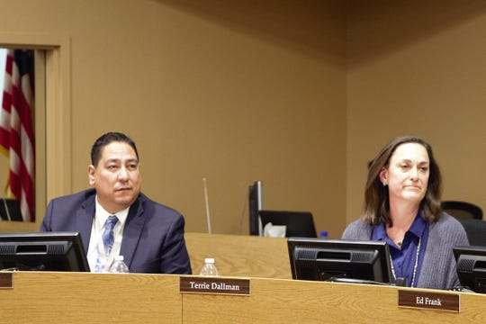 From left, Las Cruces Board of Education members Ray Jaramillo and Terrie Dallman at a school board meeting on March 19, 2019.
