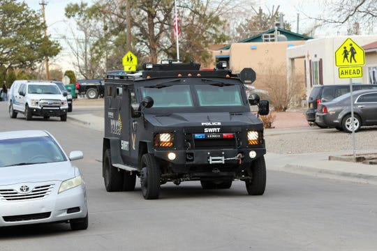 The Farmington Police Department Bearcat tactical vehicle arrives on scene of an armed suspect barricaded in a residence along the 2900 block of Yale Drive in Farmington on Monday.