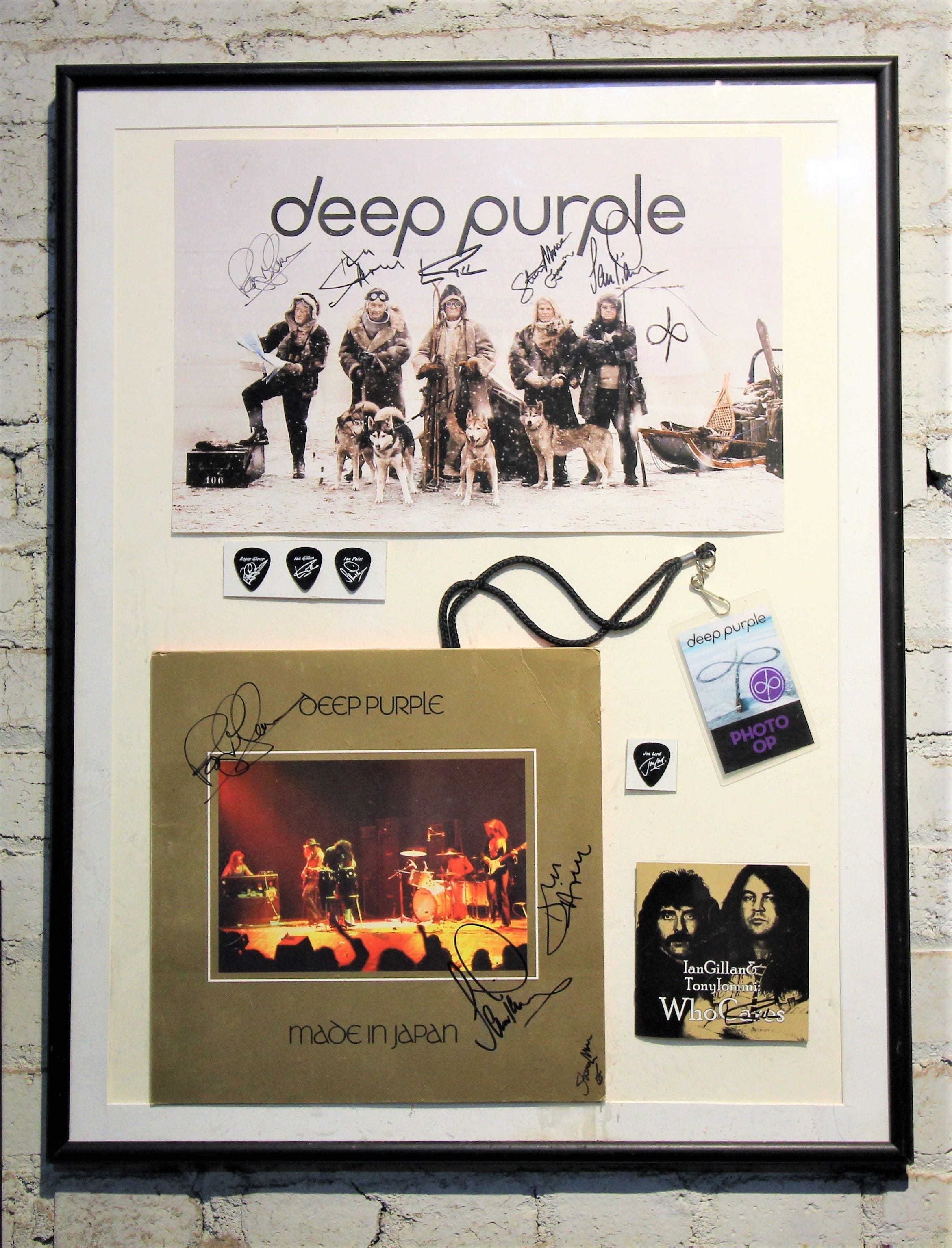 An autographed photo along with a signed album from Deep Purple is just one of the many items that can be seen on exhibit at the Carrizozo Rock and Roll Hall of Fame.