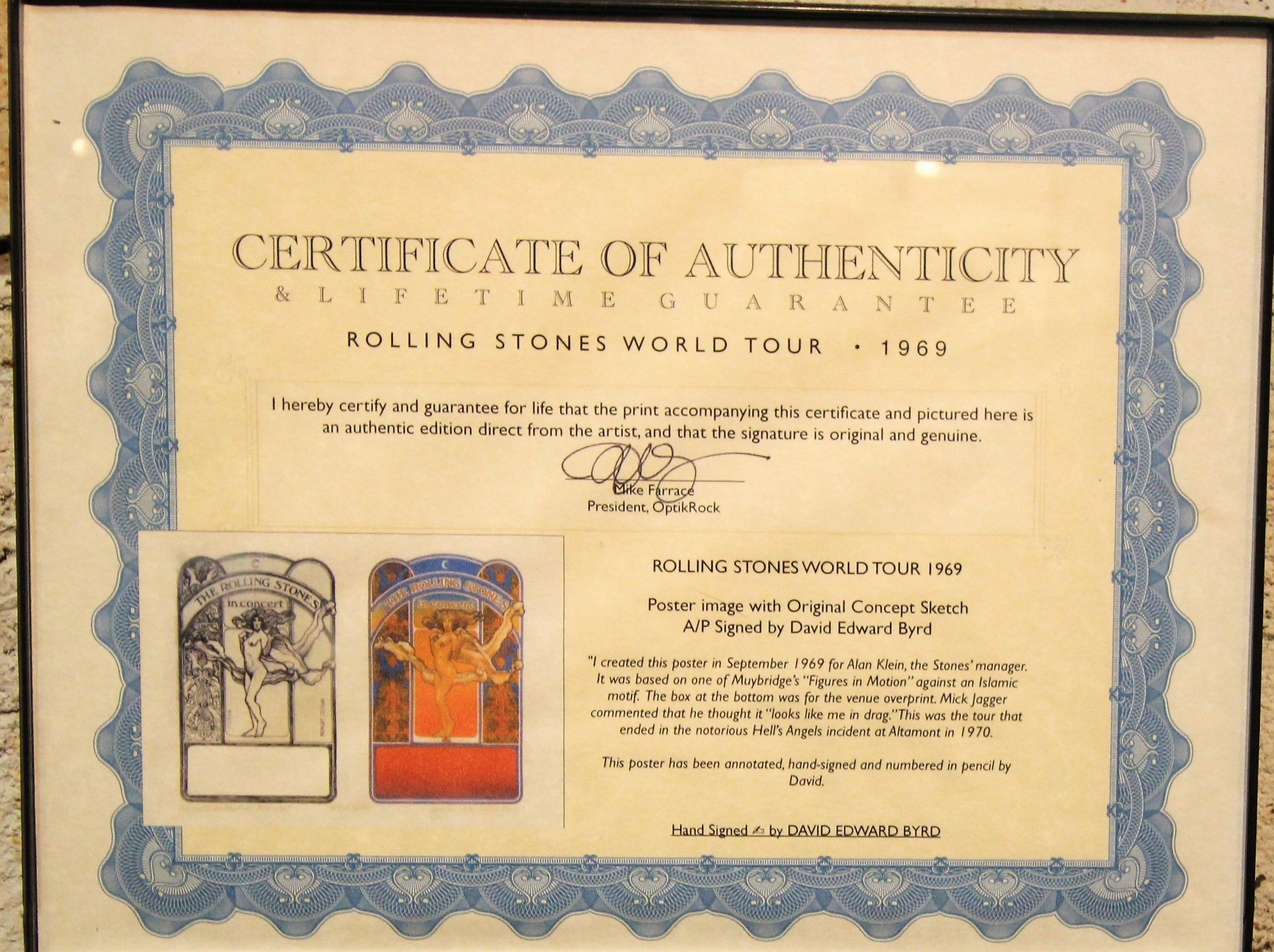 The way back machine. A signed letter of Authenticity is just one of the many signatures from rock and roll's history highlighting decades of a collection that began so many years ago.