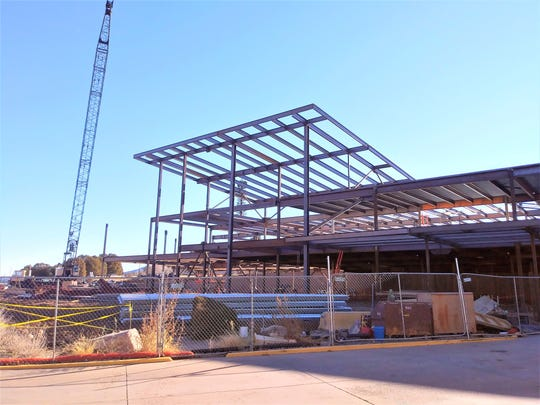 The steel frame of the new Lincoln County Medical Center has been enclosed since this earlier shot. The revamped hospital iwill have the capability to accommodate cancer treatments.