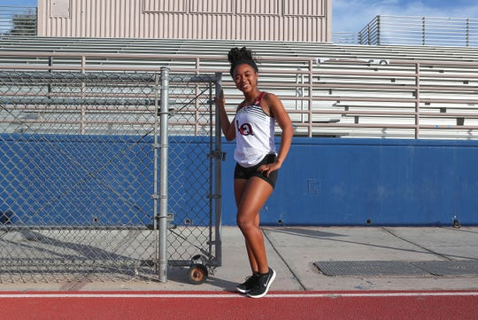 Shekinah Edwards is a member of the La Quinta High School girls relay team, January 9, 2019.