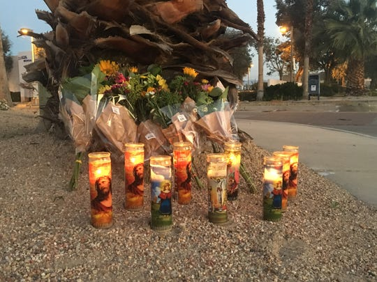 A roadside memorial is shown along Gene Autry Trail where a paramedic died in a March 18 collision. He was identified as Rancho Mirage resident Edward Lustro, 34.