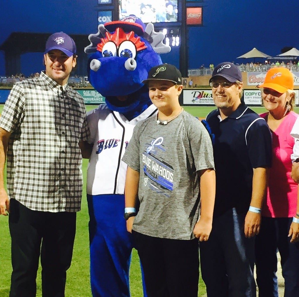 Milton pitcher honored four years ago for fight against brain tumor shines again Wahoos Stadium