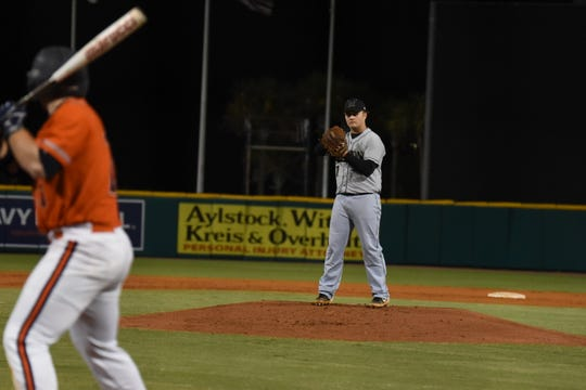 Caleb Summerlin shined on the mound Monday, March 18, 2019, in Milton's 4-3 victory against Escambia High at Blue Wahoos Stadium.