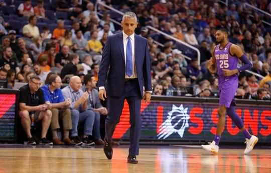 Suns' head coach Igor Kokoskov walks away from the bench after a timeout during the second half against the Bulls at Talking Stick Resort Arena in Phoenix, Ariz. on March 18, 2019.