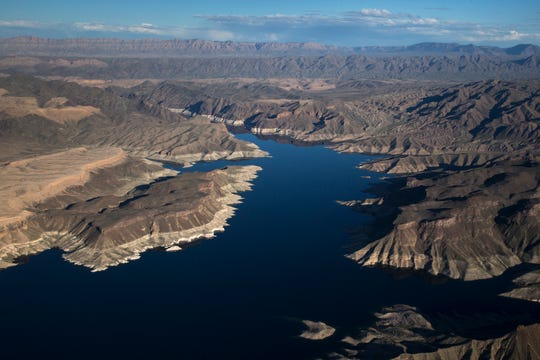 "Lake Mead near the Arizona/Nevada border, March 18, 2019. A high-water mark or ""bathtub ring"" is visible on the shoreline; Lake Mead is down 139 vertical feet."