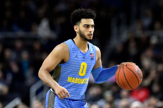 Feb 23, 2019; Providence, RI, USA; Marquette Golden Eagles guard Markus Howard (0) dribbles the ball up the court against the Providence Friars during the first half at the Dunkin Donuts Center. Mandatory Credit: Brian Fluharty-USA TODAY Sports