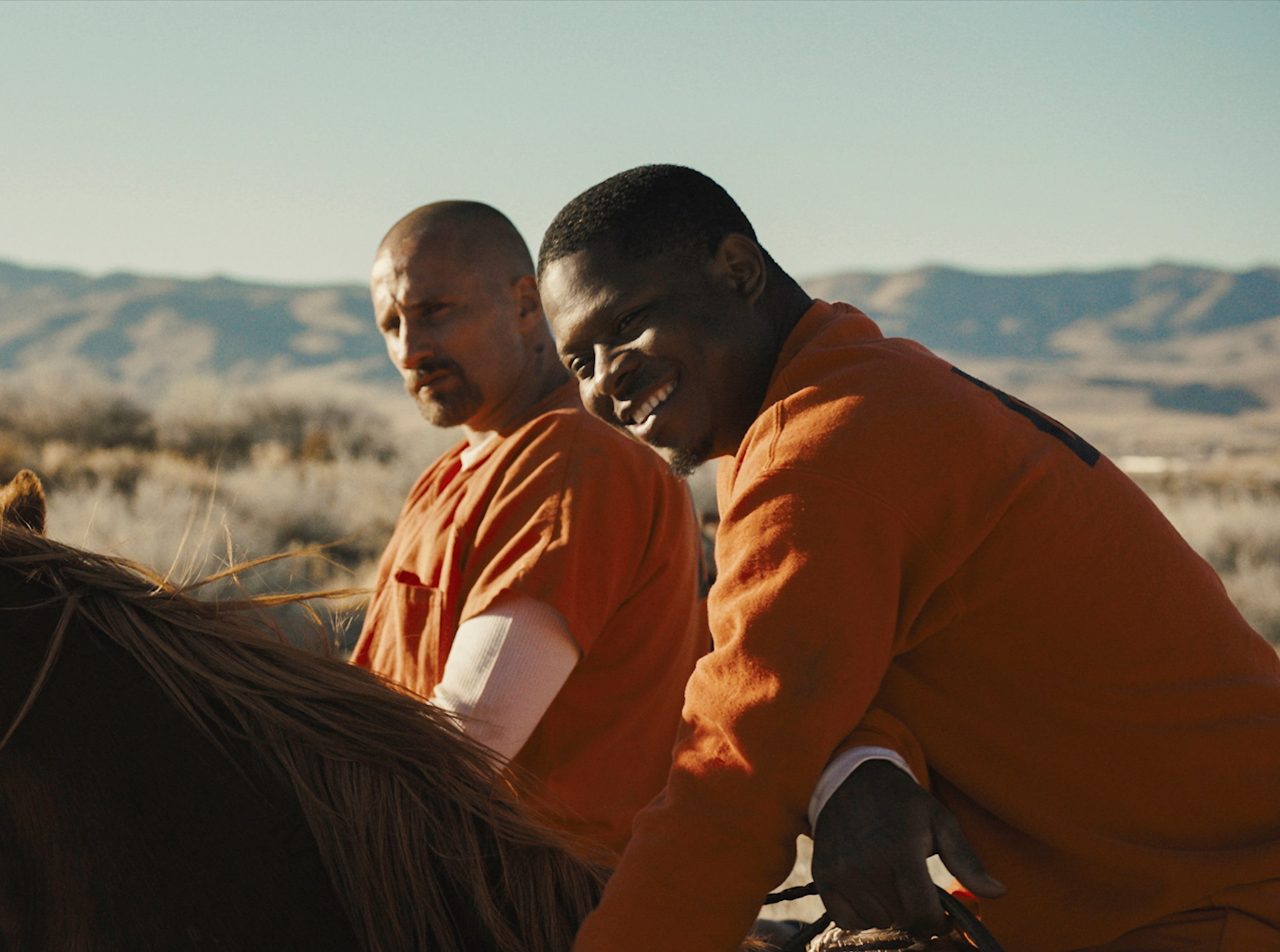 "Matthias Schoenaerts (left) and Jason Mitchell (right) star in ""The Mustang."""