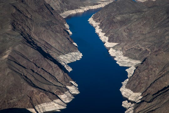"""Virgin Canyon March 18, 2019, in the Lake Mead National Recreation Area near the Arizona/Nevada border. A high-water mark or """"bathtub ring"""" is visible on the shoreline; Lake Mead is down 139 vertical feet."""