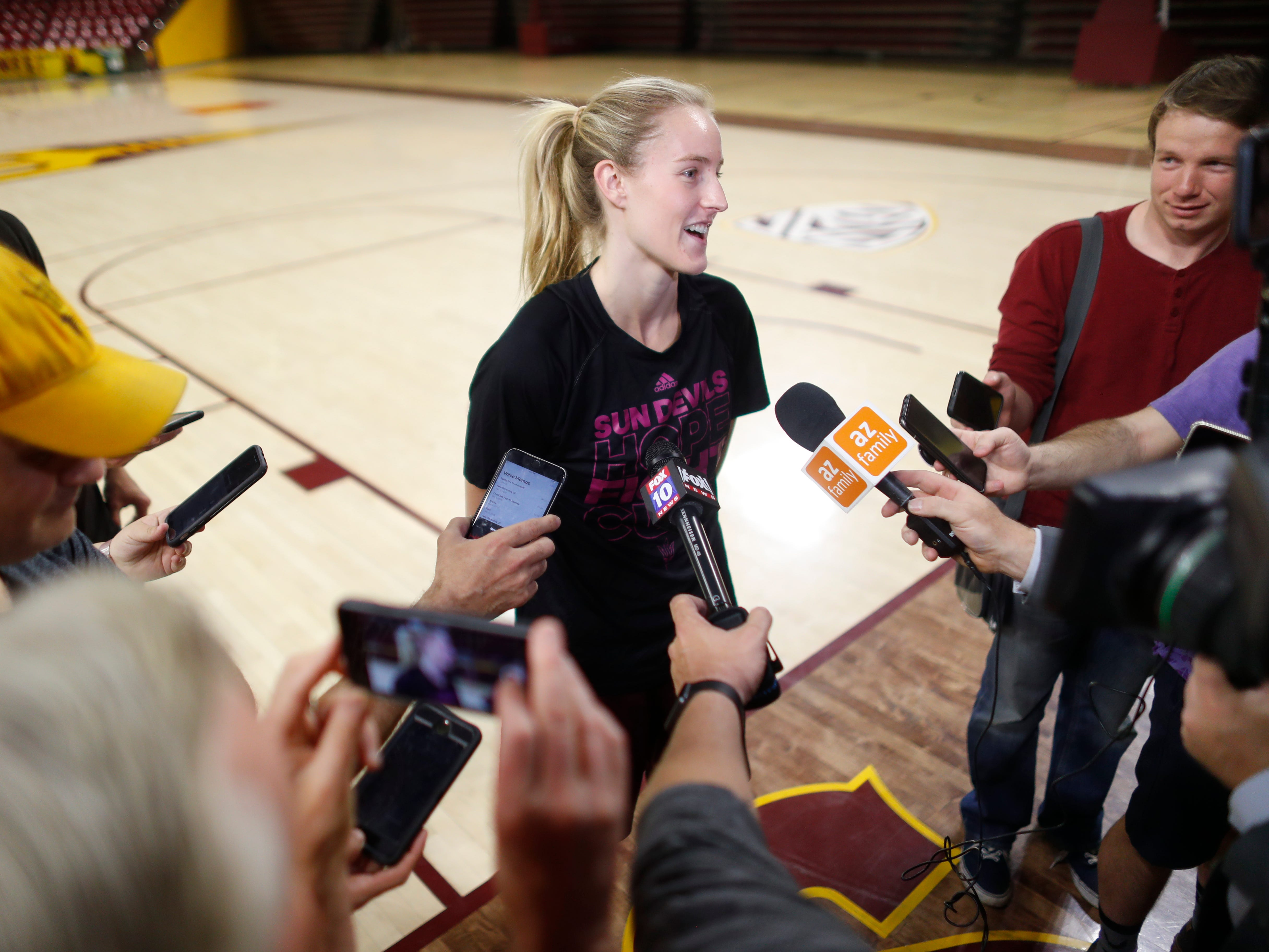 ASU's Courtney Ekmark talks with media after a practice at Wells Fargo Arena in Tempe, Ariz. on March 18, 2019. The team found out in a leaked bracket that they would be playing UCF in the first round of the NCAA tournament.