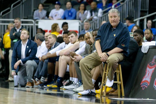 West Virginia Mountaineers head coach Bob Huggins watches from the sidelines during a semifinal game against the Kansas Jayhawks in the Big 12 conference tournament at Sprint Center.  William Purnell-USA TODAY Sports