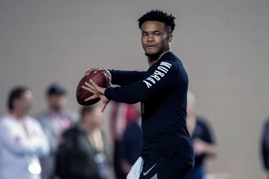 Oklahoma quarterback Kyler Murray gets set to throw a pass during his Pro Day.