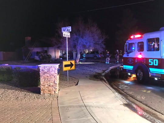 A car crashed into the side of a house and started a fire around 2:30 a.m. March 19, 2019, in the 3100block of West Kristal Way in Phoenix.