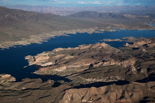 """Lake Mead near the Arizona/Nevada border, March 18, 2019. A high-water mark or """"bathtub ring"""" is visible on the shoreline; Lake Mead is down 139 vertical feet."""