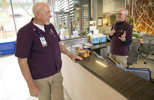"Banner hospital volunteers Dennis Swaney (left) and Robert ""Zac"" Zakowski like to tease one another and call their friendship a ""bromance."""