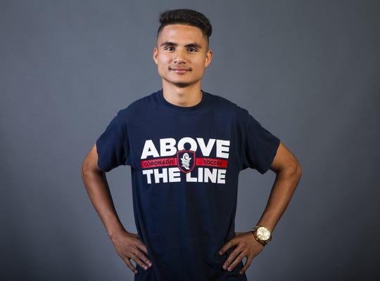Gabriel Gonzalez is a boys soccer player at Coronado  High School posing for All-Arizona team.                 .