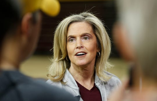 ASU's head coach Charli Turner Thorne talks with media after a practice at Wells Fargo Arena in Tempe, Ariz. on March 18, 2019. She said she was surprised by the leaked NCAA tournament bracket.