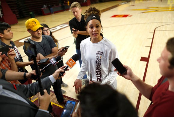 ASU's Kianna Ibis talks with media after a practice at Wells Fargo Arena in Tempe, Ariz. on March 18, 2019. The team found out in a leaked bracket that they would be playing UCF in the first round of the NCAA tournament.