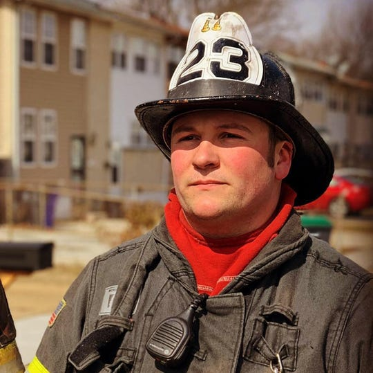Lebanon Firefighter Dave Smiley was injured while volunteering for a Delaware fire company when he fell through the second story floor of a home while battling a blaze .