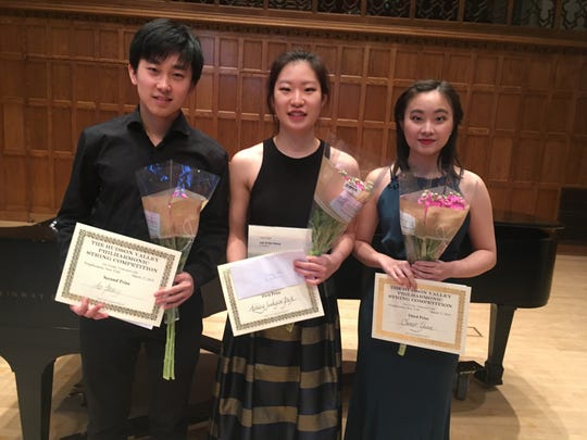 Winners of the 47th annual Hudson Valley Philharmonic String Competition are violist Ao Peng (Second Place), left to right, violinist Ashley Jeehyun (First Place) and violinist Chener Yuan (Third Place), all from the Juilliard School.