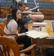 Nicole Addimando sits in Dutchess County Court Tuesday next to one of her defense lawyers, John Ingrassia.