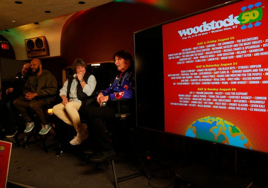 From left, Andy Bernstein of Headcount, Common, Michael Lang and John Fogerty during Tuesday's announcement of the Woodstock 50 line up at Electric Lady Studios in New York City on March 19, 2019.