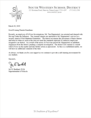South Western School District Superintendent Jay Burkhart sent letters to parents and guardians of district students regarding the status of a West Manheim Elementary School armed security officer who has been charged with DUI.