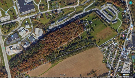 Area near Manchester Twp.'s industrial park where county officials say a chemical leaked from large drugs and made its way into a tributary that leads to Codorus Creek.