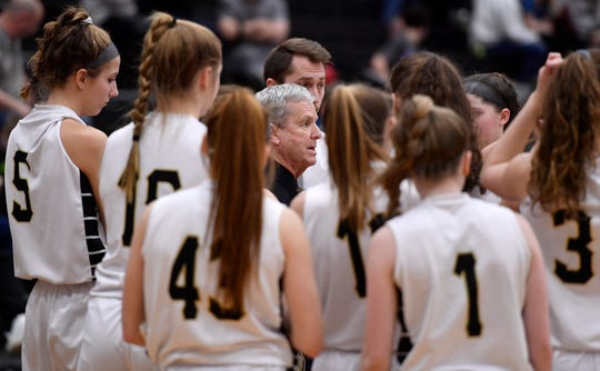 Delone Catholic coach Gerry Eckenrode talks to his team during the PIAA Class 3-A semifinal vs. Central Cambria.