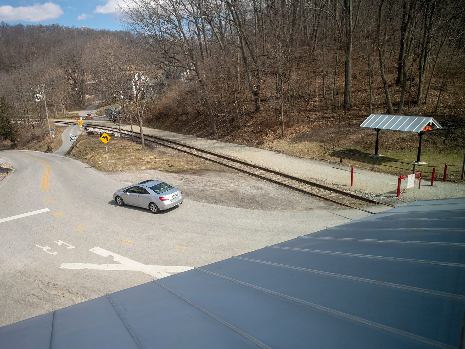 This is looking out the front window of the Seitzland store across the York County Heritage Rail Trail.