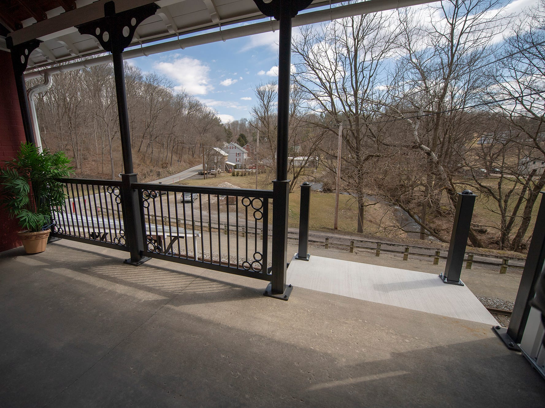 This view is looking across the York County Heritage Rail Trail from the second-floor porch of the Seitzland store.