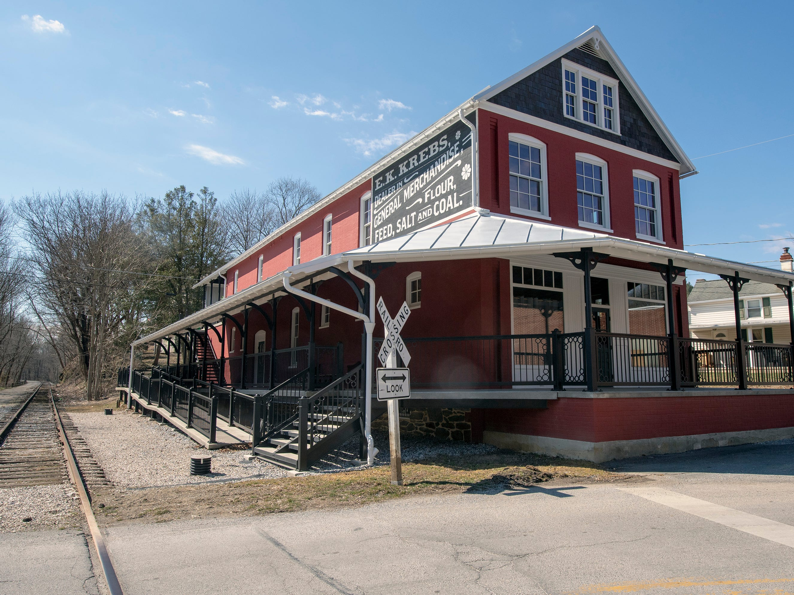 The renovated Seitzland store is shown with new porches and ironwork in Seitzland Village outside of Glen Rock. Old slates from the roof were used to reduce maintenance on the facade near the peak of the roof.