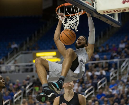 Cody Martin of the Wolf Pack dunks against Grand Canyon University. The Pack opens its third straight NCAA Basketball Tournament appearance on March 21 against Florida in Des Moines, Iowa.
