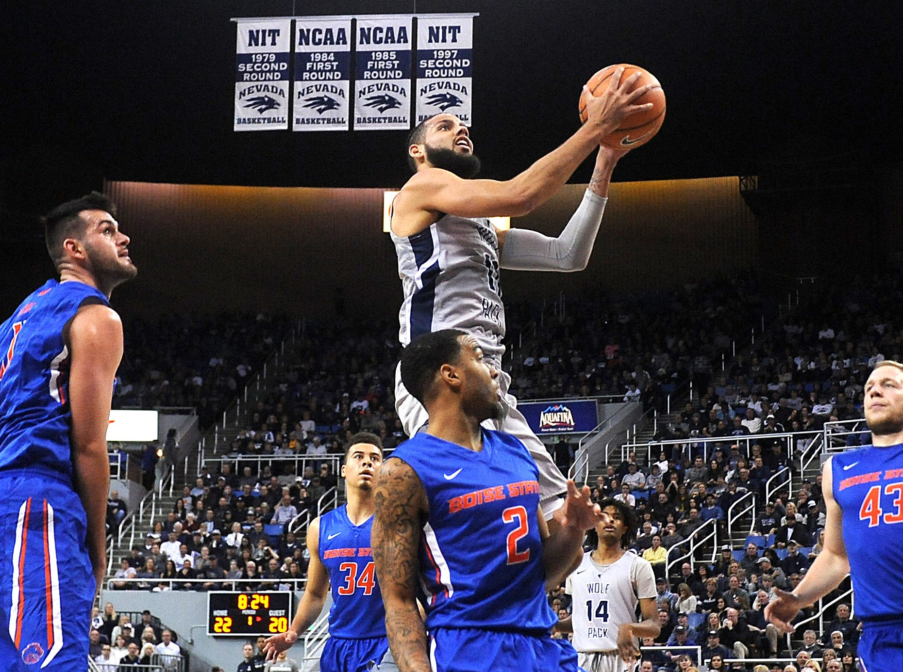 Nevada's Cody Martin (11) looks to shoot while taking on Boise State during their basketball game at Lawlor Events Center in Reno on Jan. 20, 2018.