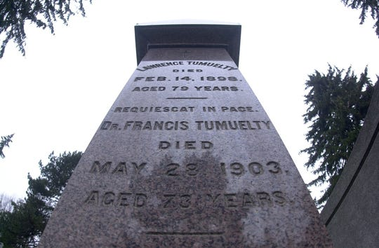 Francis Tumblety's headstone in Section 13 of Holy Sepulchre Cemetery spells his last name Tumuelty.