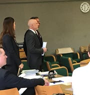 Attorneys Naomi Chung, left, and Douglas Rappaport, center, appear in court on Tuesday, March 19, 2019. Former IASCO general Manager Jonathan McConkey stands next to Rappaport. Kelsi Hoser also was in court but is not in the picture.