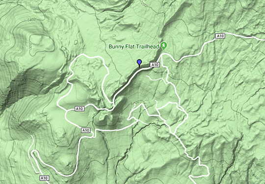 Map pointer shows location of Monday's avalanche below the Bunny Flat Trailhead at Mt. Shasta.