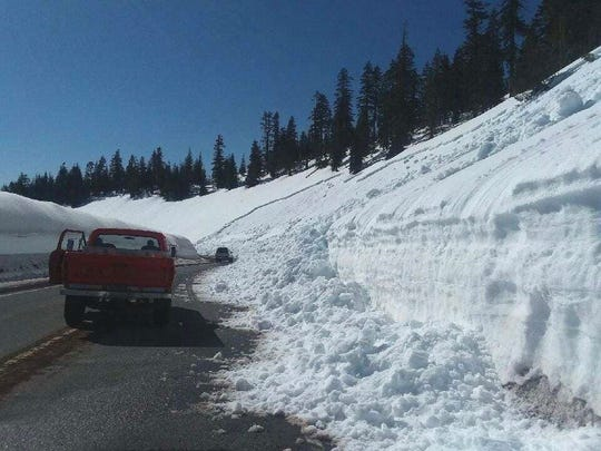 A small avalanche blocks one lane of Everitt Memorial Highway on Mt. Shasta just below Bunny Flat on Monday afternoon.