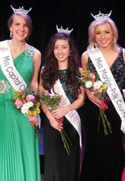 Josephine Carstensen, left, Mya Joyce and Bailey Aldrich were honored by the Miss Marion-Polk County Scholarship Program on March 9.
