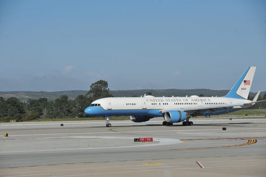 Air Force 2, carrying Vice President Mike Pence, arrived at the Monterey Regional Airport on Monday afternoon.