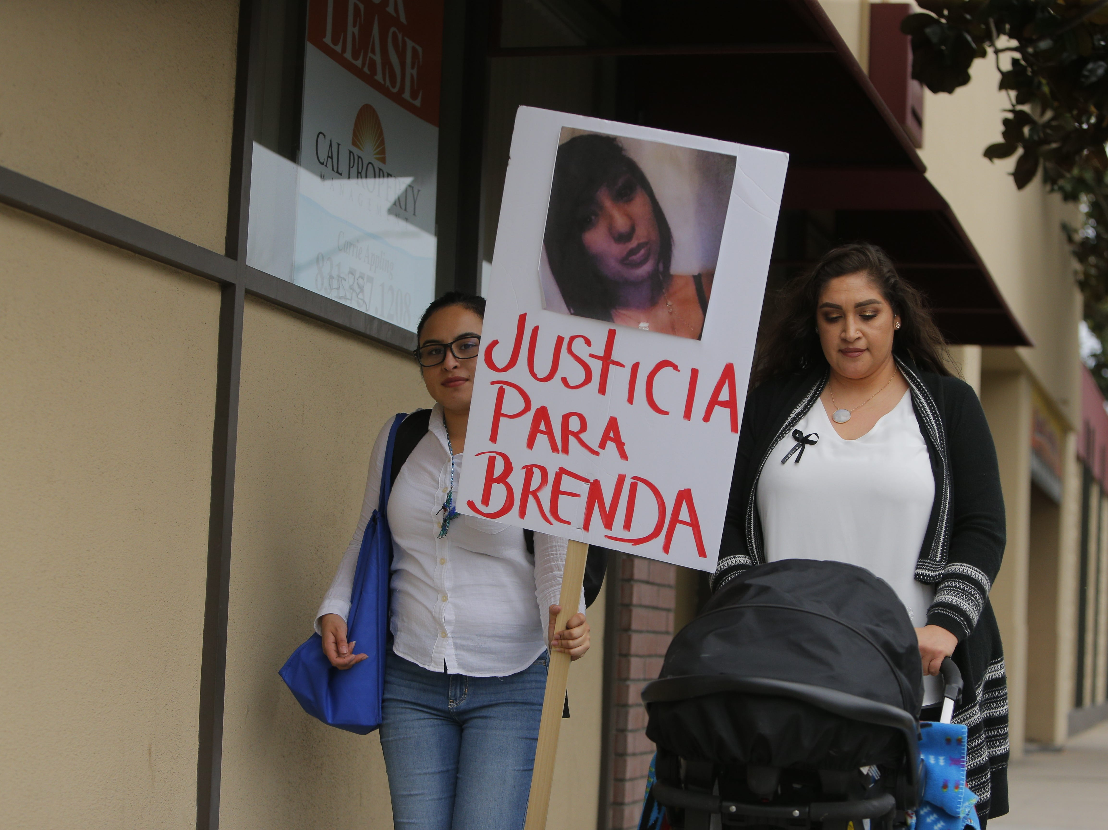 On March 19, Iaram Coronado and Laura Tinajero protest the death of Brenda Mendoza who was shot by police on March 1.