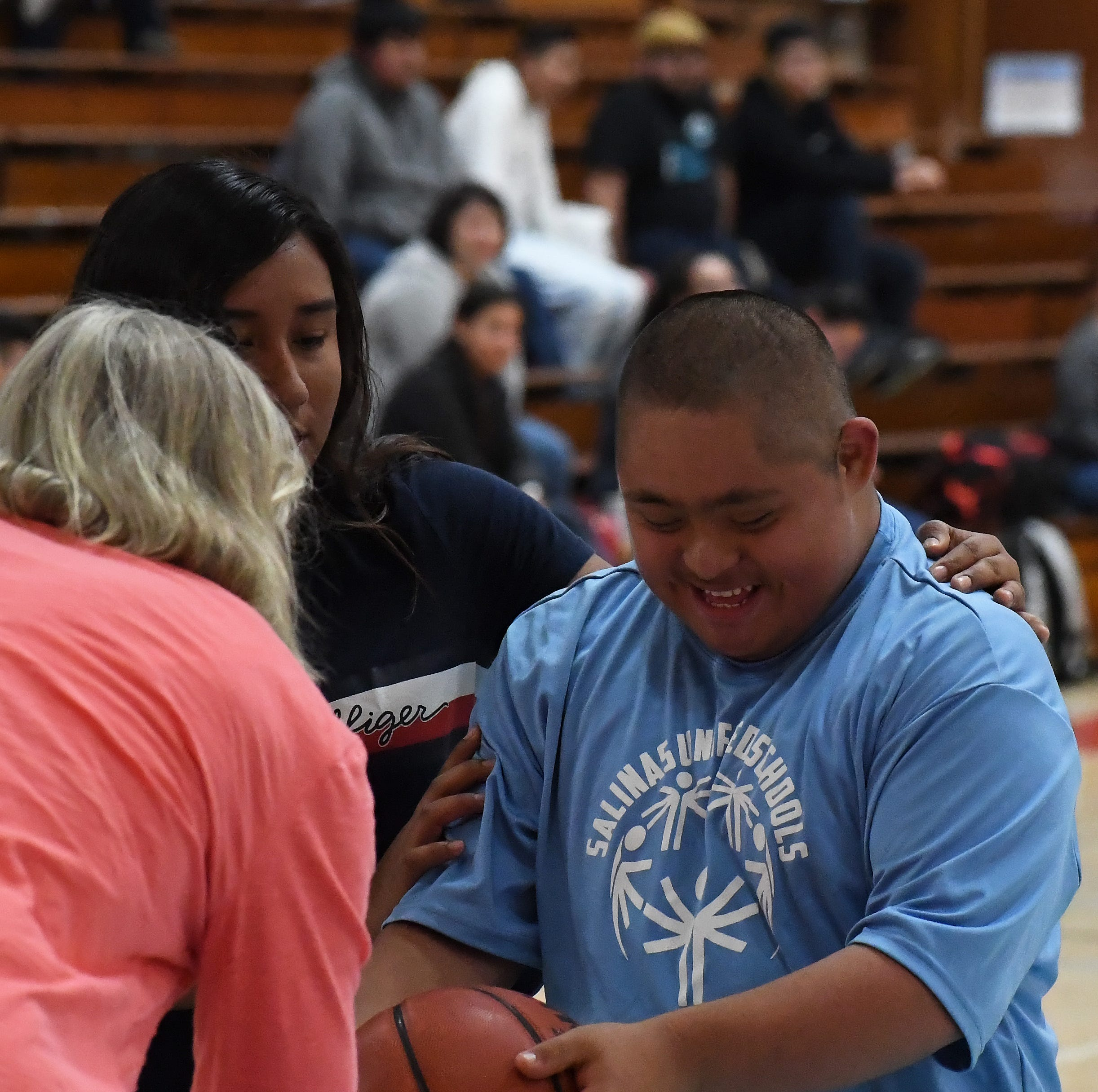 Kids with special needs dribble, drive and score in Salinas Unified Basketball League