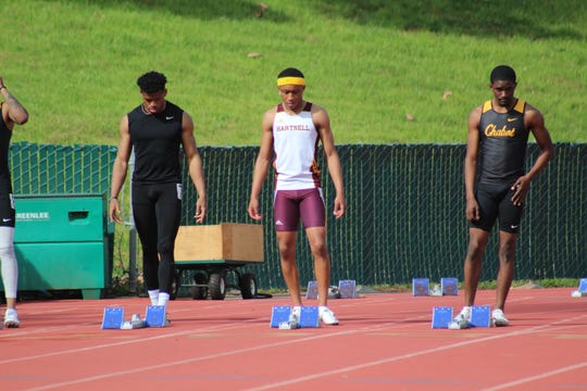 De'Antae Williams (center) is one of the top freshmen for the Hartnell Panthers track team this spring and competes in the 100, 200 and multiple relays.