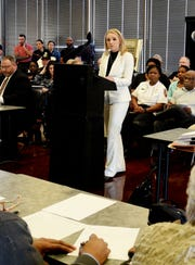 Nichole Buckle defended provisional chief Ben Raymond Tuesday at Fire and Police Civil Service Board meeting.