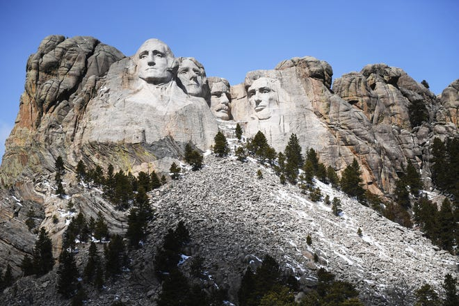 Mount Rushmore Sunday, March 17, in Keystone.